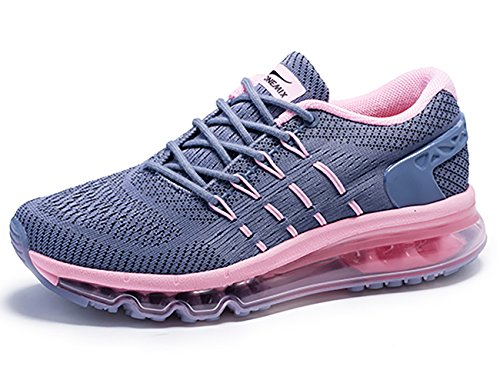 ONEMIX Womens Air Running Shoes,Sloping Tongue Sneakers, Grey/Pink, Womens 7(M)/Mens 5.5(M)US 38EU by ONEMIX
