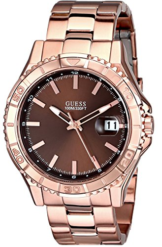 GUESS Men's U0244G6 Classic Rose Gold-Tone Watch with Brown Dial