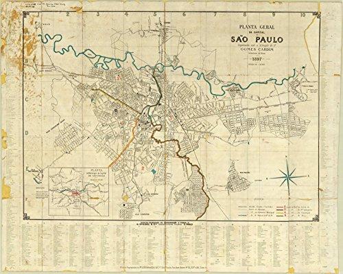 Historic Map   São Paulo, Brazil 1897   Planta geral da Capital de São Paulo   Antique Vintage Reproduction 30in x 24in