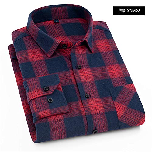 Plaid Shirt Winter Flannel Red Checkered Shirt Men Shirts Long Sleeve Male Check Shirts XDM23 XXL 42 (Oz Flannel 5 Shirt)