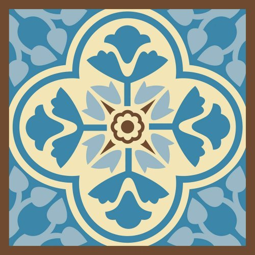 Blue and Brown Tile Square Surface Saver (Evergreen Square Tile)