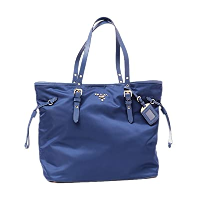 4285b904f2741c Amazon.com: Prada Tessuto Saffiano Royal Blue Nylon and Leather Trim  Shopping Tote Bag 1BG997: Shoes