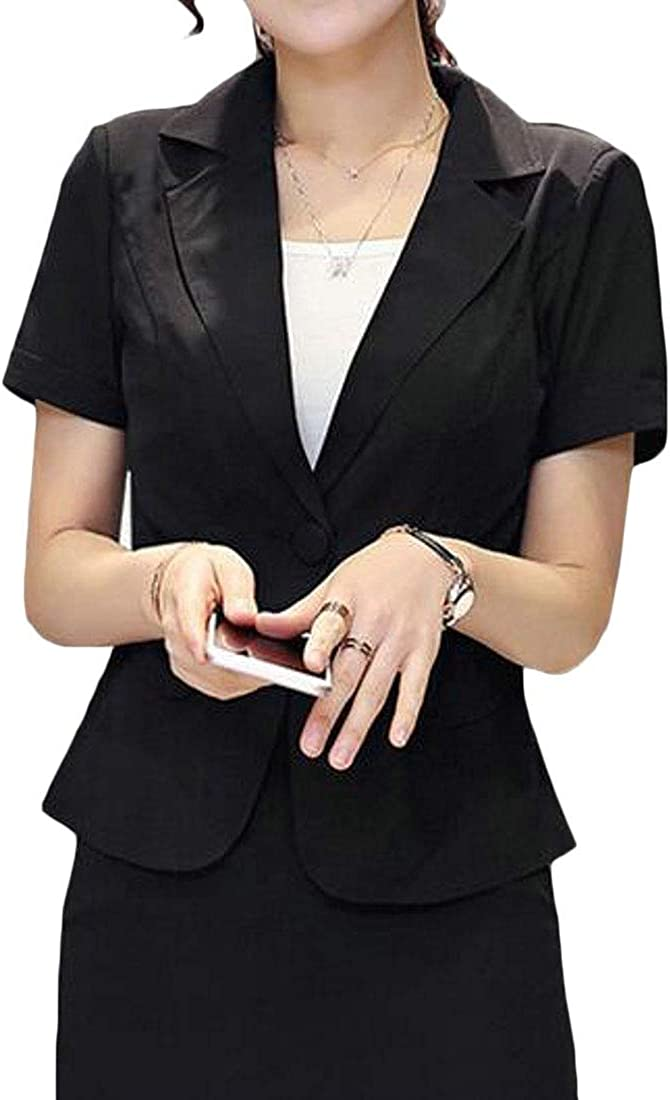 X-Future Women Solid Summer Short Sleeve Short Crop Business Work Blazer Jacket Suit Coat