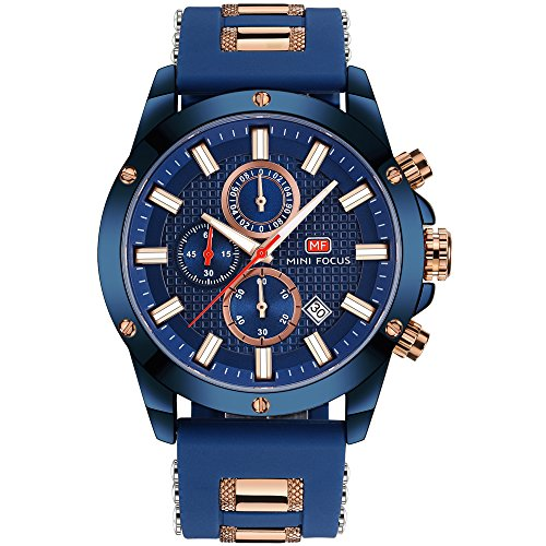 Men's Analog Quartz Chronograph Watch with Date Luminous Waterproof Blue Silicone Band Fashion Casual Dress Wrist Watches - Metal Chronograph Watch Blue Dial