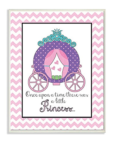 The Kids Room by Stupell Once Upon A Time There Was A Little Princess With Carriage Rectangle Wall Plaque, 11 x 0.5 x 15, Proudly Made in USA (Canvas Hanging Wall Princess)