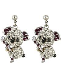 Ever Faith Cute Koala Dangle Earrings Blue Clear Austrian Crystal A07128-1