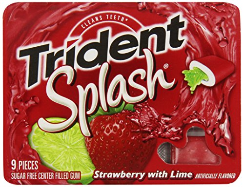 Trident Splash Gum, Strawberry Lime,  9-Piece Packs (Pack of ()