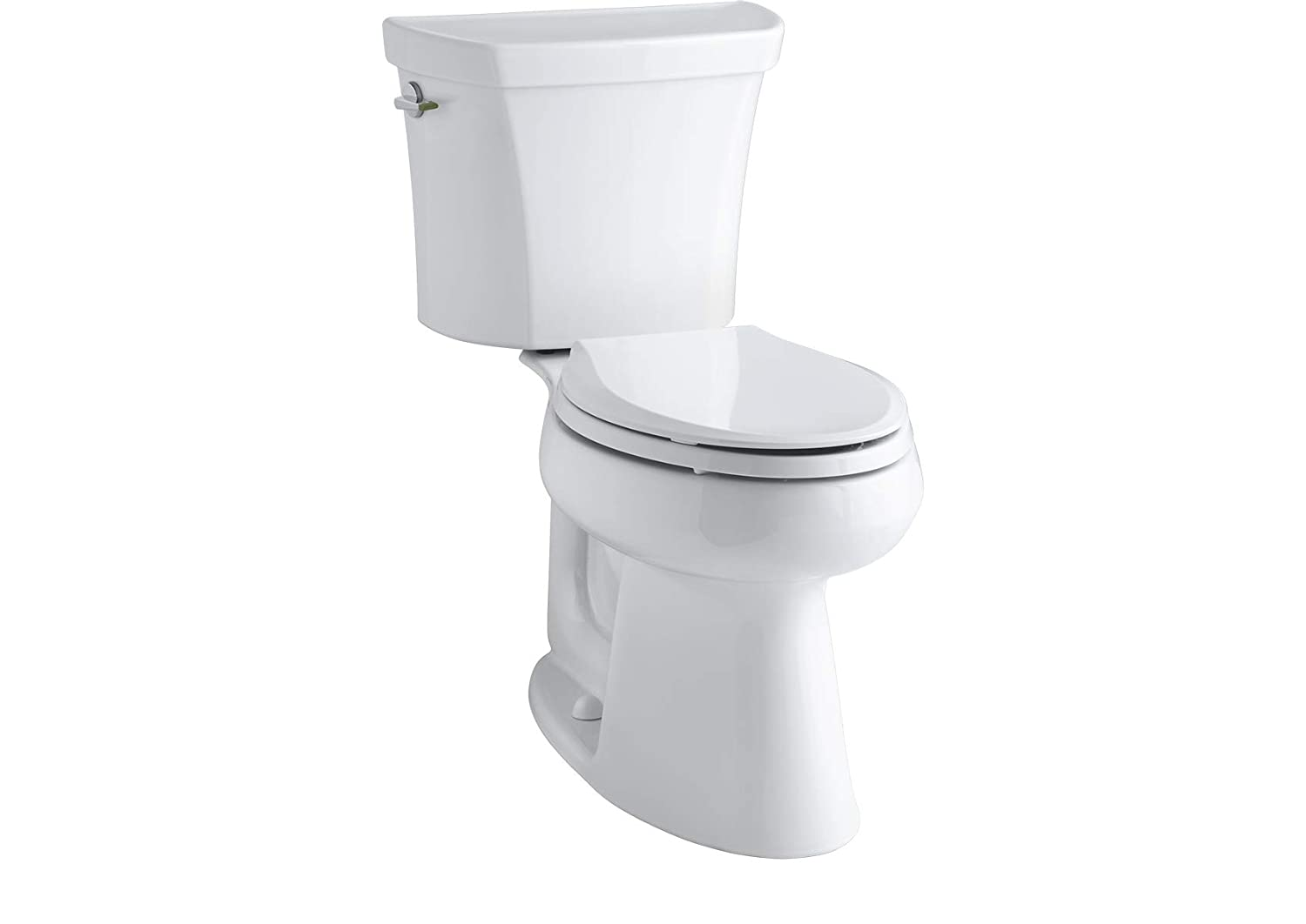 KOHLER K-3989-7 Wellworth Highline Two-Piece Dual-Flush Elongated Toilet with Class Five Flush System and Left-Hand Trip Lever Black