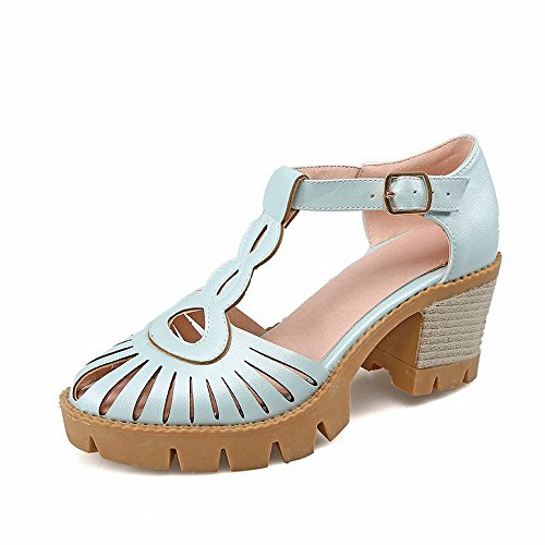 AmoonyFashion Womens Buckle Round Closed Toe High Heels Solid Pumps-Shoes Blue dmEqD