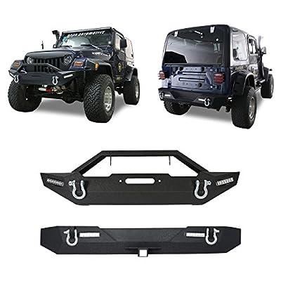 "Hooke Road Rock Crawler Rear Bumper w/2"" Hitch Receiver + Front Bumper Kit for 1987-2006 Jeep Wrangler TJ YJ & Unlimited"