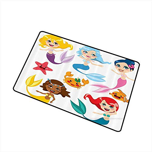 Door mat Customization Mermaid Decor Collection of Cute Colorful Mermaids and Sea Friends Kids Cheering Joyful W31 xL47 Easy to Clean Carpet