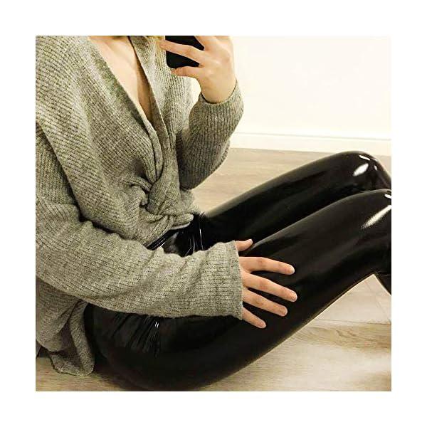 FEOYA Sexy Leggings Femme Brillant Pantalon en Cuir Lisse Legging Collant Élastique Taille Haute pour Club Fête Sport…