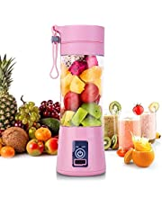 Portable Juicer Blender Household Fruit Mixer 4 Blades in 380 ml Fruit Mixing Machine with USB Charger Cable for Superb Mixing USB Juicer Cup (Pink)