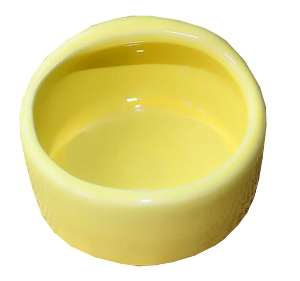 George Jimmy Pet Supplies One Ceramic Feeding Pot Anti-Splash Food Bowl Water Box for Squirrel Hedgehog Hamster 7.5x5.5CM Yellow by George Jimmy