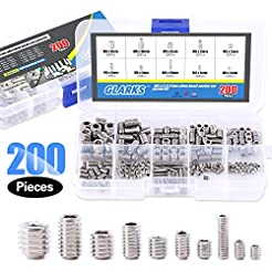 Glarks 200-Piece M3 4 5 6 8 Hex Allen He...