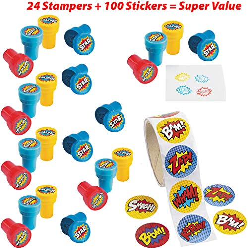(Superhero Stickers and Stampers for Kids Value Pack | 24 Stampers with Superhero Sayings and Graphics Plus 1 Sticker Rolls (100 Stickers) for Boys and Girls | Party Supplies, Classroom Rewards, Superhero Supplies)