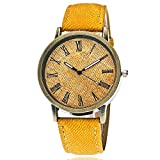 WoCoo Watch,Luxury Quartz Canvas Printed dial Retro Solid Leather Band for Lovers(Yellow)
