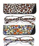 SOOLALA 2-Pair Designer Fashionable Spring Hinge Rectangular Reading Glasses w/Matching Pouch, LeopardFloral, 4.0
