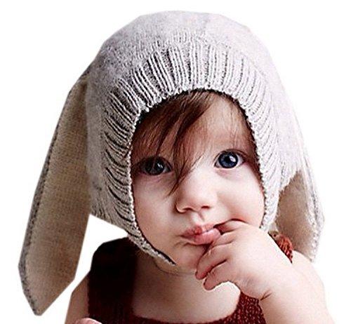 VOEN Bunny Rabbit Ear Hat Winter Crochet Earmuff Earcap Knit Hat for Baby Light grey