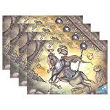 Hokkien Blue Viper Retro Steampunk Style Knight Placemat Heat-resistant Stain Resistant Polyester Fabric Tray Mat for Kitchen Dining Table 12 x 18 inch Set of 6