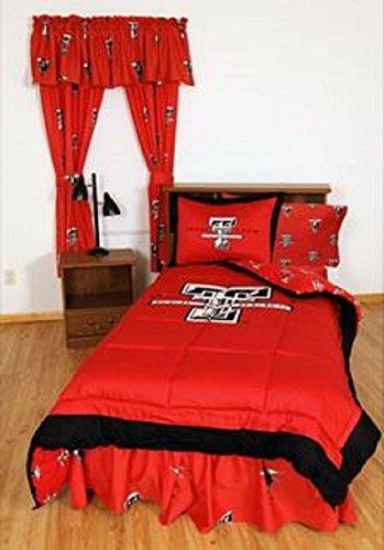 Texas Tech Red Raiders (5) Piece QUEEN Size Reversible Comforter Set - Set Includes: (1) QUEEN Size Comforter, (2) Shams and (2) Standard Size Solid Color Pillowcases