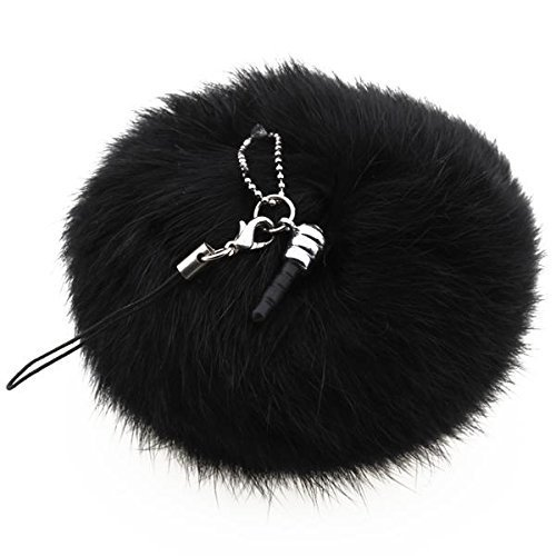 SODIAL(R) Black Rabbit Fur Ball Phone Cellphone String Charm Strap Anti Dust Plug (Rabbit Dust)