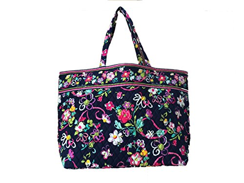 [Vera Bradley Grand Tote in Ribbons with Solid Pink Interior] (Ribbon Tote)