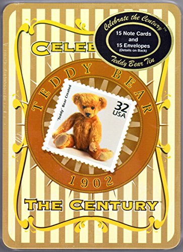USPS Celebate the Century 1902 Teddy Bear in a Stamp Collector's Tin Box with 15 Note Cards and 15 Envelopes That Celebrate the Creation of the teddy Bear