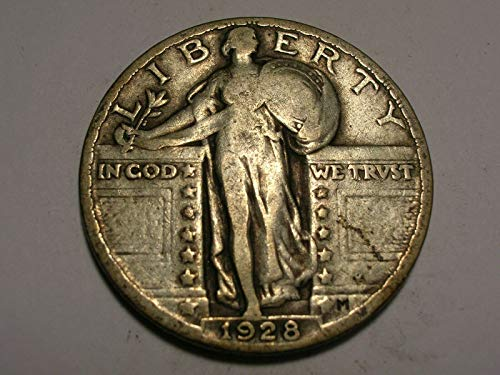 - 1928 U.S. Standing Liberty Silver Quarter Dollar, (1-Coin) Strong Full Date (1/4) Fine to XF