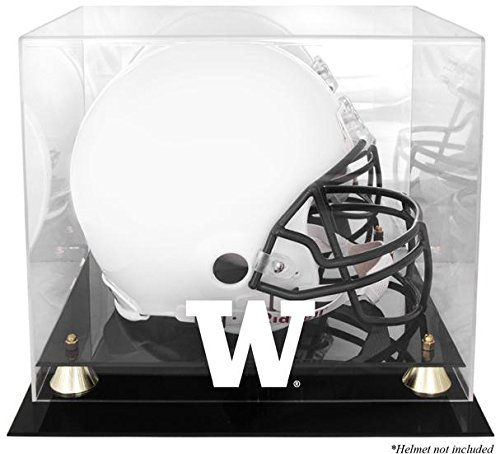 Sports Memorabilia Washington Huskies Golden Classic Logo Helmet Display Case with Mirrored Back - College Football Helmet Free Standing Display Cases