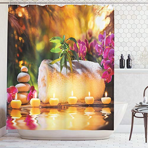 Ambesonne Spa Decor Shower Curtain, Asian Classic Spa Joy in The Garden with Romantic Candles and Orchids, Fabric Bathroom Decor Set with Hooks, 84 Inches Extra Long, Purple White