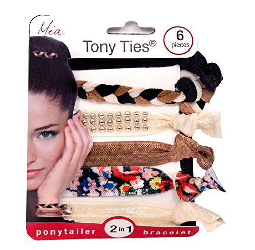 Mia Tony Ties-2 in 1 Ponytail Holder & Bracelets-Basic, Knotted, Elastic Ribbon, Rubberbands For The Hair-1 Beautiful Black,1 Braided,1 Studded Beige,1 Brown,1 Pretty Floral Print, 1 Ivory (6 (Michael Floral Print)