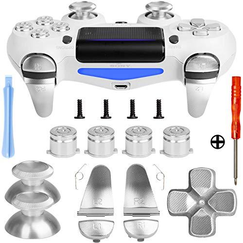 Z&Hveez Metal Buttons for PS4 Controller Gen 2, Metal Aluminum Bullet Buttons & L1 R1 L2 R2 Triggers & D-pad & Thumbsticks Replacement Kit for PS4 Slim/PS4 Pro DualShock 4 Controller (Metal Silver)