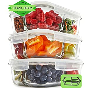 3 Compartment Glass Meal Prep Containers (3, 30) - Food Storage Containers with Vented Lids | Leakproof Food Prep Containers | Portion Control Food Containers | Bento Lunch Box