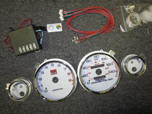 01 White Face Gauge - 94 95 96 97 98 99 00 01 Acura Integra GSR GS-R Manual Transmission 7 Color White Face Glow Gauges Dash Light Kit -9K RPM