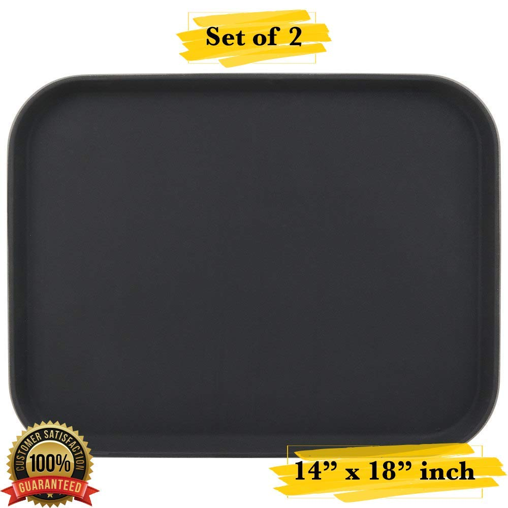 """Professional 14/"""" x 18/"""" heavy duty serving tray Rectangular Non-skid Tray MM Foodservice Set of 2 Non-Slip Serving Tray Black"""
