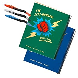 2 Super Power Wide-ruled Metallic Left-handed Notebook Set Plus 3 Left-handed Visio Pens, Assorted Colors