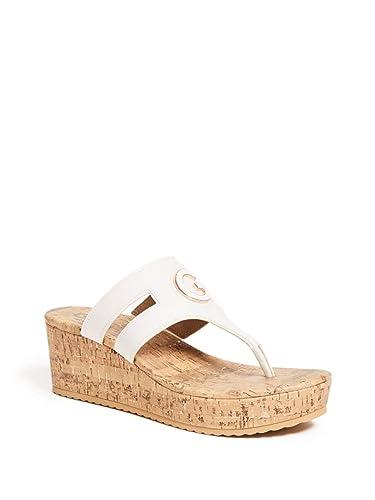 929c566c4676 G by GUESS Women s Gandy Cork Wedge Flip-Flops White