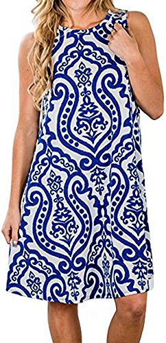 LunaJany Women's Sleeveless Floral Print Pullover Side Pockets Tunic Top Dress