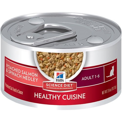 Hill's Science Diet Adult Healthy Cuisine Wet Cat Food, Poached Salmon & Spinach Medley Canned Cat Food, 2.8 oz, 24 (Diet Salmon)