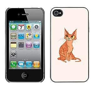 GOODTHINGS Funda Imagen Diseño Carcasa Tapa Trasera Negro Cover Skin Case para Apple Iphone 4 / 4S - gato jengibre amarillo anaranjado arte dibujo ojos