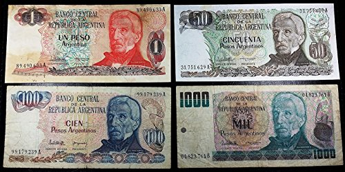 Unbranded ARGENTINA: COLLECTION OF 4 NOTES 1, 50, 100, 1000 - Collection Argentina