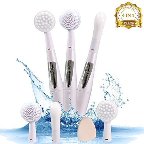 Multifunctional Electric Vibration Sonic Facial Cleansing Brush Skin Exfoliating System Deep Cleansing, Facial and Eye Massage IPX7 Waterproof Function with 4 interchangeable head personal care