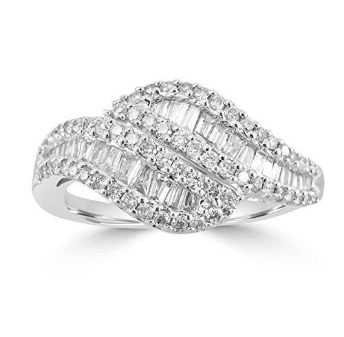 3/4ct Round & Baguette Diamond 14k White Gold Swirl Band Ring Baguette Diamond Swirl Ring