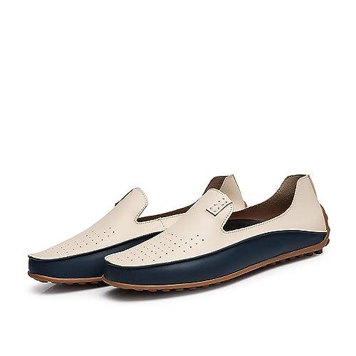 1 par de Mocasines de Ocio Suave para Hombre Casual Mocasines de tacón Plano Calzado de conducción Durable Imitación de Cuero Slip-on Mocasines - Blanco 43: ...