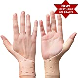 2 Breathable Gel Wrist & Thumb Support Braces for Right & Left Hand | Proven to Relieve Wrist & Thumb Pain Including Arthritis, Rheumatism, Carpal Tunnel | Soft, Comfortable & Light Weight