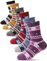 Kids Wool Socks 6 Pairs Child Toddler Boys Girls Thermal Boot Crew Warm Winter Cabin Thick Snow Socks