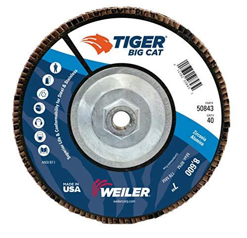 (Weiler Big Cat High Density Abrasive Flap Disc, Type 27, Threaded Hole, Phenolic Backing, Zirconia Alumina, 7