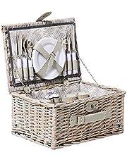 Kitchen Warehouse Grey Wash Picnic Basket 4 Person Driftwood