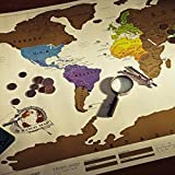 """Idee Regalo Natale Originale- Mappa Del Mondo Vintage Design, Diario di Viaggio In Tutto Il Mondo """"Grattare Via"""" Personalizzato, Ottimo per Te/Amici/Ragazzi Mamma Papa Bambini Manifersto Creativo Avventura 88 x 52 cm"""